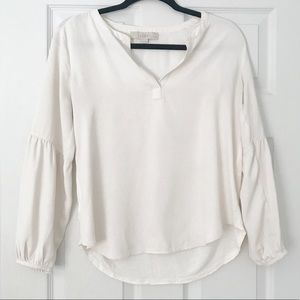 Cream Blouse With Balloon Sleeves